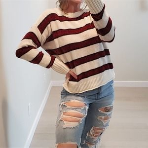 Rue 21 chenille sweater striped soft large cozy
